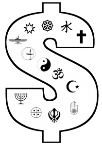 dollar sign with religious symbols